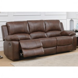 Andalusia LeatherGel And PU Recliner 3 Seater Sofa In Whiskey