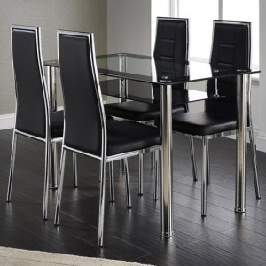 Andora Clear Glass Black Border Dining Set With 4 Chairs