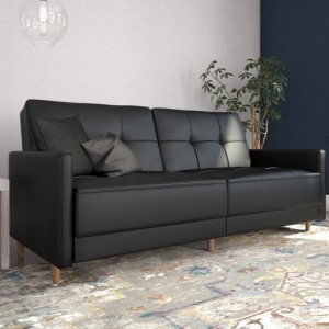 Andora Sprung Faux Leather Sofa Bed In Black With Wooden Legs