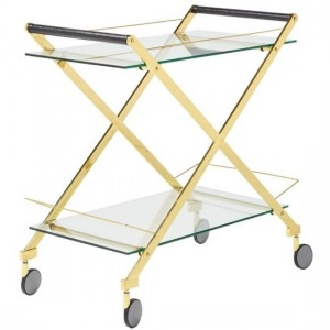 Angelina Clear Glass Top Drinks Trolley With Gold Frame