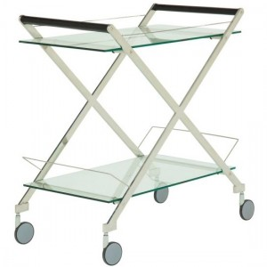 Angelina Clear Glass Top Drinks Trolley With Silver Frame