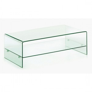 Angola Clear Glass Coffee Table With Shelf