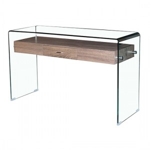 Angola Clear Glass Console Table With Wooden Drawer