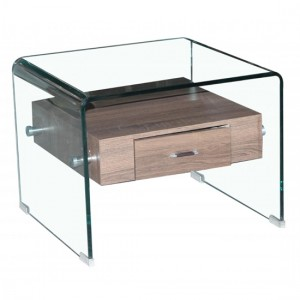 Angola Clear Glass Lamp Table In With Drawer