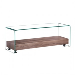 Angola Clear Glass TV Stand With Natural Wooden Shelf