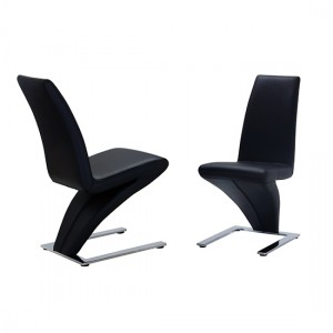 Ankara Black PU Leather Dining Chair In Pair