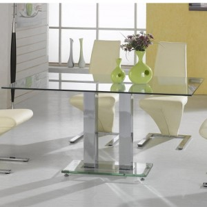 Ankara Large Clear Glass Dining Table With Chrome Stand