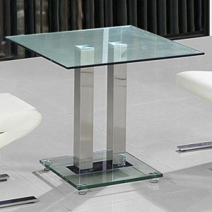 Ankara Small Clear Glass Dining Table With Chrome Stand