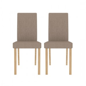 Anna Beige Fabric Dining Chairs In Pair
