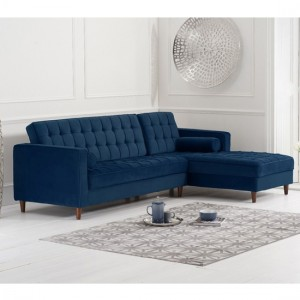 Anneliese Velvet Right Facing Chaise Corner Sofa In Blue