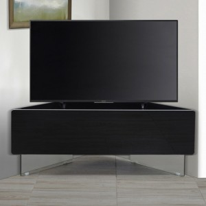 Antares Wooden Corner TV Stand In Black High Gloss