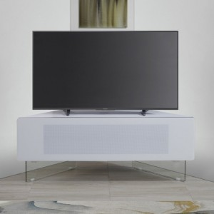 Antares Wooden Corner TV Stand In White High Gloss