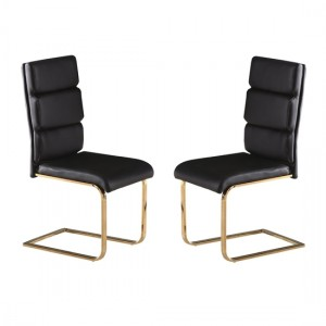 Antibes Black Faux Leather Dining Chairs In Pair