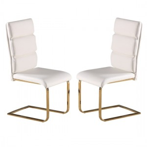 Antibes White Faux Leather Dining Chairs In Pair