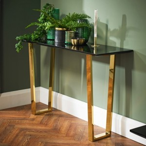 Antibes Wooden Console Table In Black High Gloss With Gold Metal Legs