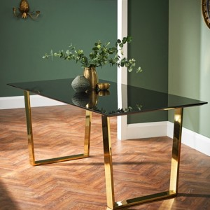 Antibes Wooden Dining Table In Black High Gloss With Gold Metal Legs