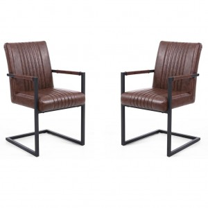 Archer Cantilever Brown Leather Carver Chair In Pair