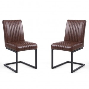 Archer Cantilever Brown Leather Dining Chair In Pair