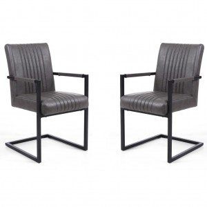 Archer Cantilever Grey Leather Carver Chair In Pair