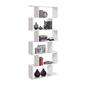 Helix Tall Shelving Unit In White High Gloss
