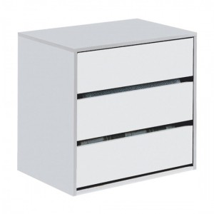 Arctic Chest Of Drawers In White High Gloss With 3 Drawers