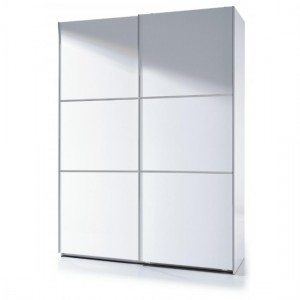 Arctic Medium Sliding Wardrobe With Shelves In White High Gloss