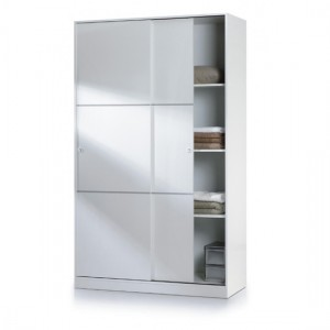 Arctic Small Sliding Wardrobe With Shelves In White High Gloss