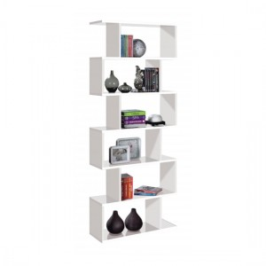 Arctic Tall Wooden Bookcase With White High Gloss