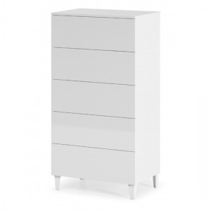 Arctic Tall Wooden Chest Of Drawers In White High Gloss With 5 Drawers