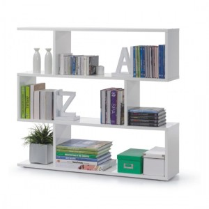 Arctic Wide Wooden Bookcase With White High Gloss