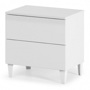 Arctic Wooden Chest Of Drawers In White High Gloss With 2 Drawers