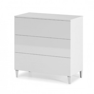 Arctic Wooden Chest Of Drawers In White High Gloss With 3 Drawers