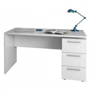 Arctic Wooden Computer Desk In White With 3 Drawers