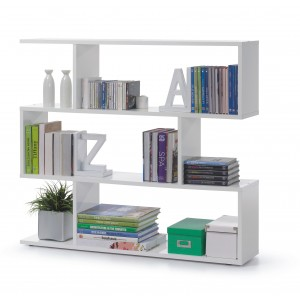 Helix Wide Bookcase In High Gloss White