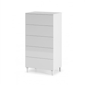 Helix Chest Of 5 Drawers In White High Gloss