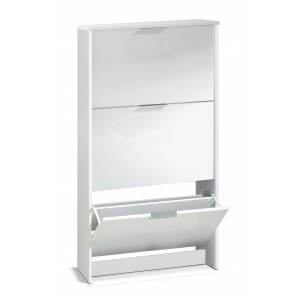 Helix Modern 3 Drawer Shoe Storage Cabinet In White High Gloss