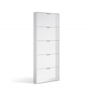 Helix Modern 5 Drawer Shoe Storage Cabinet In White High Gloss