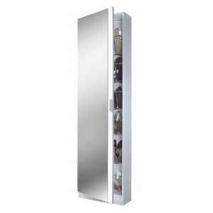 Helix Mirrored Shoe Storage Cabinet In White High Gloss