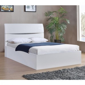 Arden Wooden Storage King Size Bed In White High Gloss