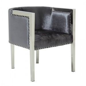 Aria Charcoal Velvet Accent Chair With Metal Legs