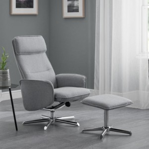 Aria Linen Fabric Recliner Chair With Stool In Grey