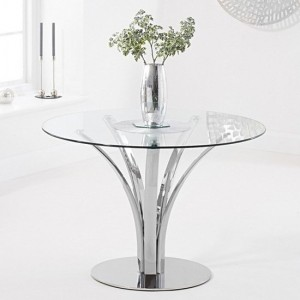 Arina Round Glass Dining Table With Chrome Metal Base