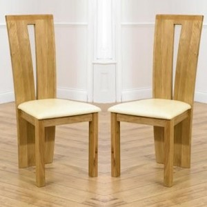 Arizona Oak Wooden Dining Chairs With Cream Leather Seat In Pair