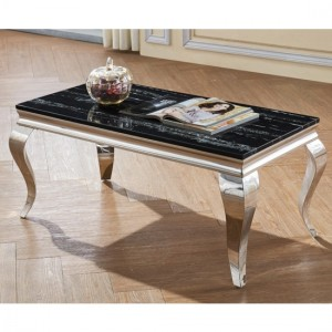 Arriana Black Marble Coffee Table With Stainless Steel Base