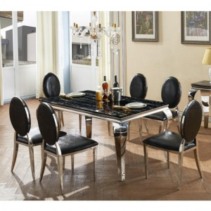 Arriana Black Marble Dining Set With Stainless Steel Legs And 6 Chairs