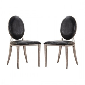 Arriana Black PU Dining Chair In Pair With Stainless Steel Legs