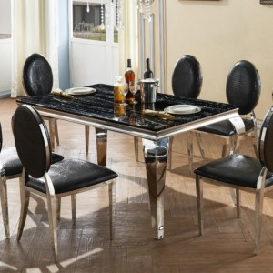 Arriana Marble Dining Table In Natural Stone With Stainless Steel Base