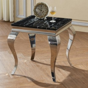 Arriana Marble Lamp Table With Stainless Steel Base