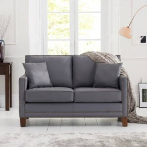 Arundel Faux Leather 2 Seater Sofa In Grey