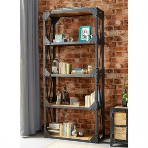Ascot Large Wooden Bookcase In Reclaimed Wood